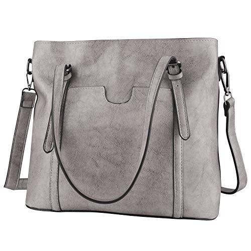 GENESS Herren Umhängetasche, Premium Messenger Bag Schultertasche Herrentasche, Kuriertasche Laptoptasche für Zoll Laptop, Unisex Casual Vintage Arbeitstasche Studententasche Umhänge Tasche (Grau Die Tasche)