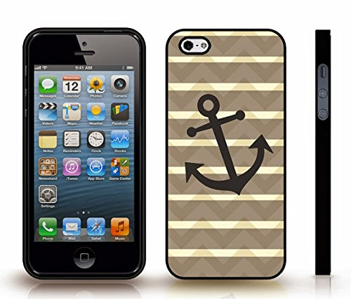 Beige Stripes Snap (iStar Cases® iPhone 4 Case with Chevron Pattern With Shaded Beige Stripes Black Anchor , Snap-on Cover, Hard Carrying Case (Black))