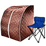 Durherm Infrared Sauna, Lowest EMF Negative Ion Portable Indoor Sauna with Chair and Heated Footpad, Brown, Large