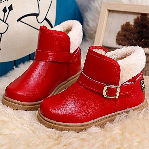 ... KVbaby Baby Jungen Mädchen Schneestiefel Warm Gefütterte Winterstiefel Stiefel  Boots Schuhe 21-30 Rot ... d379c411d7