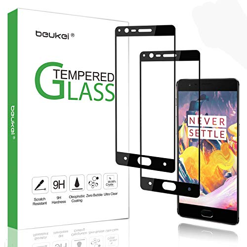 (2 Pack) Beukei for OnePlus 3 / OnePlus 3T Screen Protector Tempered Glass, Glass with 9H Hardness, with Lifetime Replacement Warranty