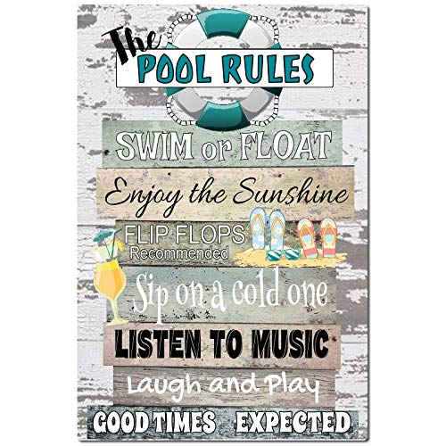 Dyenamic Art Pool Rules Metal Sign 8x12 Indoor/Outdoor Pool Decor Aluminum Sign Teal Made in USA