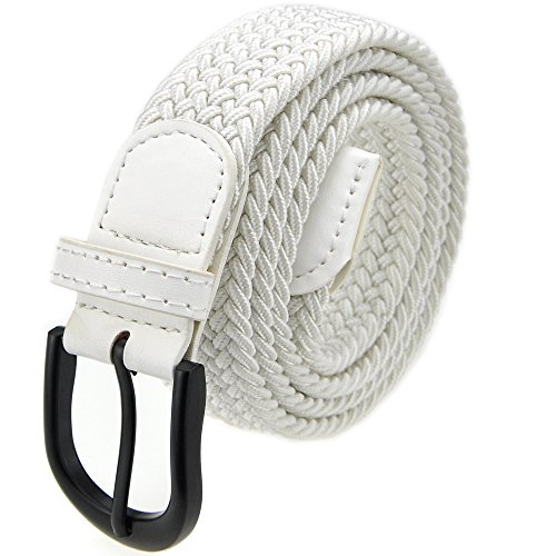 White Braided Belt - Braided Stretch Elastic Belt with Pin Oval Solid Black Buckle Leather Loop End Tip with Men/Women/Junior (Ivory White, Medium 32