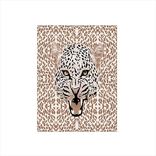 (Decorative Privacy Window Film/Roaring Leopard Portrait with Rosettes Wild African Animal Big Cat Graphic/No-Glue Self Static Cling for Home Bedroom Bathroom Kitchen Office Decor Cocoa Beige Black)