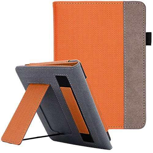 WALNEW Stand Case Fits Kindle Paperwhite 10th Generation 2018 (Model No.PQ94WIF) PU Leather Case Smart Protective Cover with Hand Strap, Orange