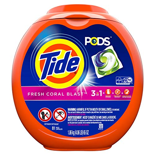 Tide PODS Laundry Detergent Liquid Pacs, Fresh Coral Blast Scent, 3 in 1 HE Turbo, 81 Count Tub (Packaging May Vary)]()