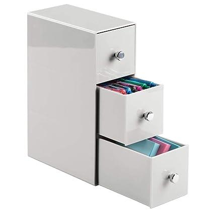 mDesign Estantería con cajones de plástico – Mueble de oficina con tres cajones en color gris claro – Práctica cajonera para escritorio para grapas, ...