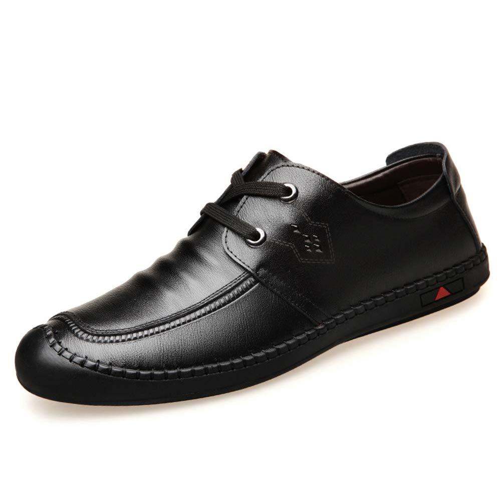 Lederschuhe für Männer Komfortable Runde Zehe Casual Business Office Zipper Größe Loafer (Farbe : Blau, Größe Zipper : EU 44) Schwarz 0b7826