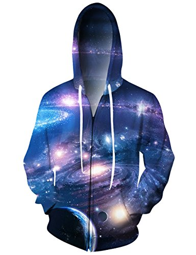 Uideazone Teen Boys Girls 3D Printed Galaxy Stars Zipper Jacket Coat Casual Grachic Hoodie Sweatshirt with ()