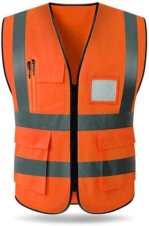 Gilet de Sapin Orange Fluorescent avec Bandes r/éfl/échissantes wetour Gilet de s/écurit/é avec Poches