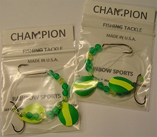 - RS Champion 2 - Green/Yellow Double Blade Colorado #3 Worm Harness Monofilament Rig