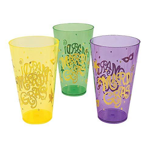 - Fun Express - Mardi Gras Print Plastic Cups for Mardi Gras - Party Supplies - Drinkware - Disposable Cups - Mardi Gras - 12 Pieces