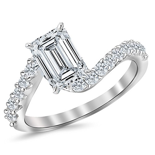 1.01 Ctw 14K White Gold GIA Certified Emerald Cut Twisting & Curving Diamond Engagement Ring, 0.5 Ct G H VVS1 VVS2 Center