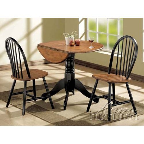 Acme 00878 3-Piece Mason Dining Set, Cherry and black finish by ACME