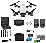 DJI Spark Intelligent Portable Mini Drone Quadcopter Fly More Combo with MUST HAVE ACCESSORIES 2 Batteries 64 GB SD Card Propeller Guards and More Alpine White