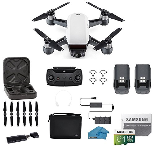 DJI Spark Intelligent Portable Mini Drone Quadcopter, Fly More Combo, with MUST HAVE ACCESSORIES, 2 Batteries, 64 GB SD Card, Propeller Guards, and More (Alpine - Shape How Recognize To Face