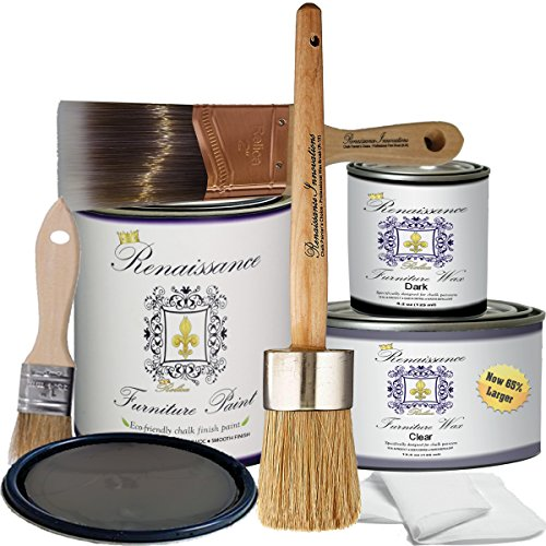 - Retique It RFP-DSKit-Greystone by by Renaissance Chalk Finish Paint, Deluxe Starter Kit, Graystone 14, 32 Ounces