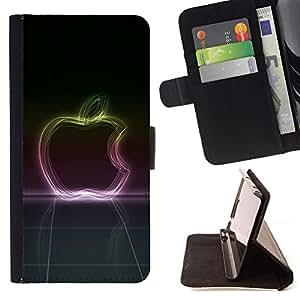 BullDog Case - FOR/Samsung Galaxy S6 EDGE / - / Neon Glow Apple /- Monedero de cuero de la PU Llevar cubierta de la caja con el ID Credit Card Slots Flip funda de cuer