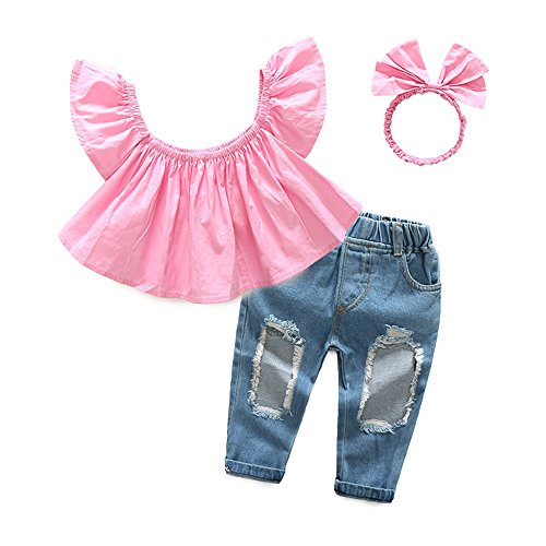Jean 2 Piece Pants Outfit - Top and Top 1-6T Toddler Baby Girls 3Pcs Pink Off Shoulder Shirts+Ripped Hole Jeans+Bow Headband Kids Clothes Set Outfits (80/12-18 months)