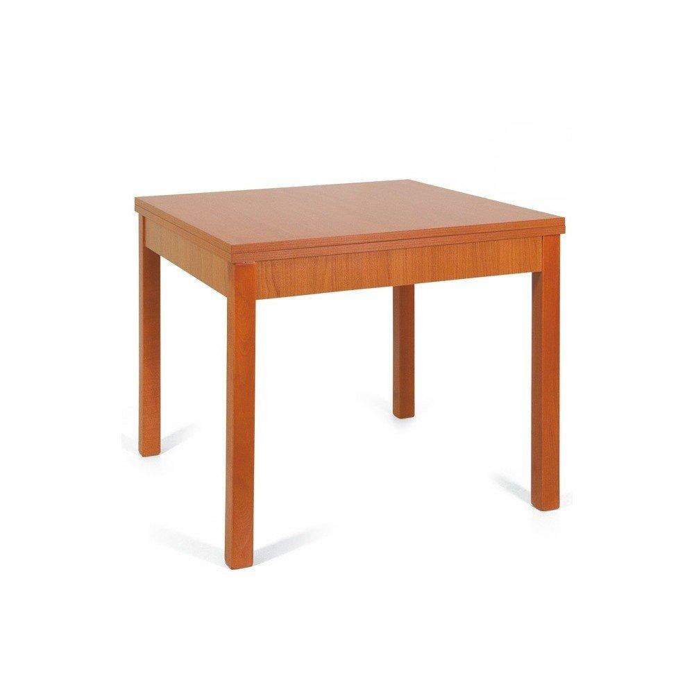 Tavolo da pranzo apribile a libro in legno cm 90x90/180 colore ciliegio WEBMARKETPOINT