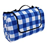OUTCAMER Outdoor Picnic Blanket, Waterproof Large Portable Folding Picnic Mat with Tote for Family Camping(Blue-white checker, 79'' × 59'')