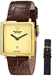 Steinhausen Women's LW516-G Square Gold-Tone Watch with Two Interchangeable Bands