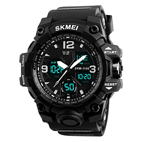 Mens Digital Analog Sport Wristwatch Large Dual Display Stopwatch Calendar Alarm Waterproof-Black