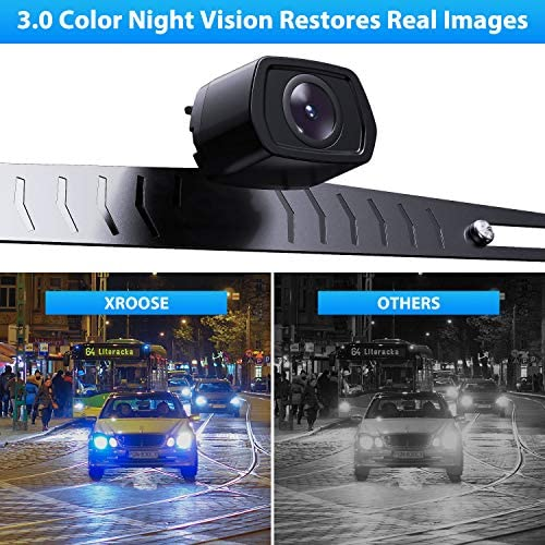 Car Backup Camera Rearview Parking Vehicle F2 Camera by Xroose High Definition Night Vision IP69K Waterproof Rate License Plate Mounted Optimum 152 Wide View for Safety,12-24V