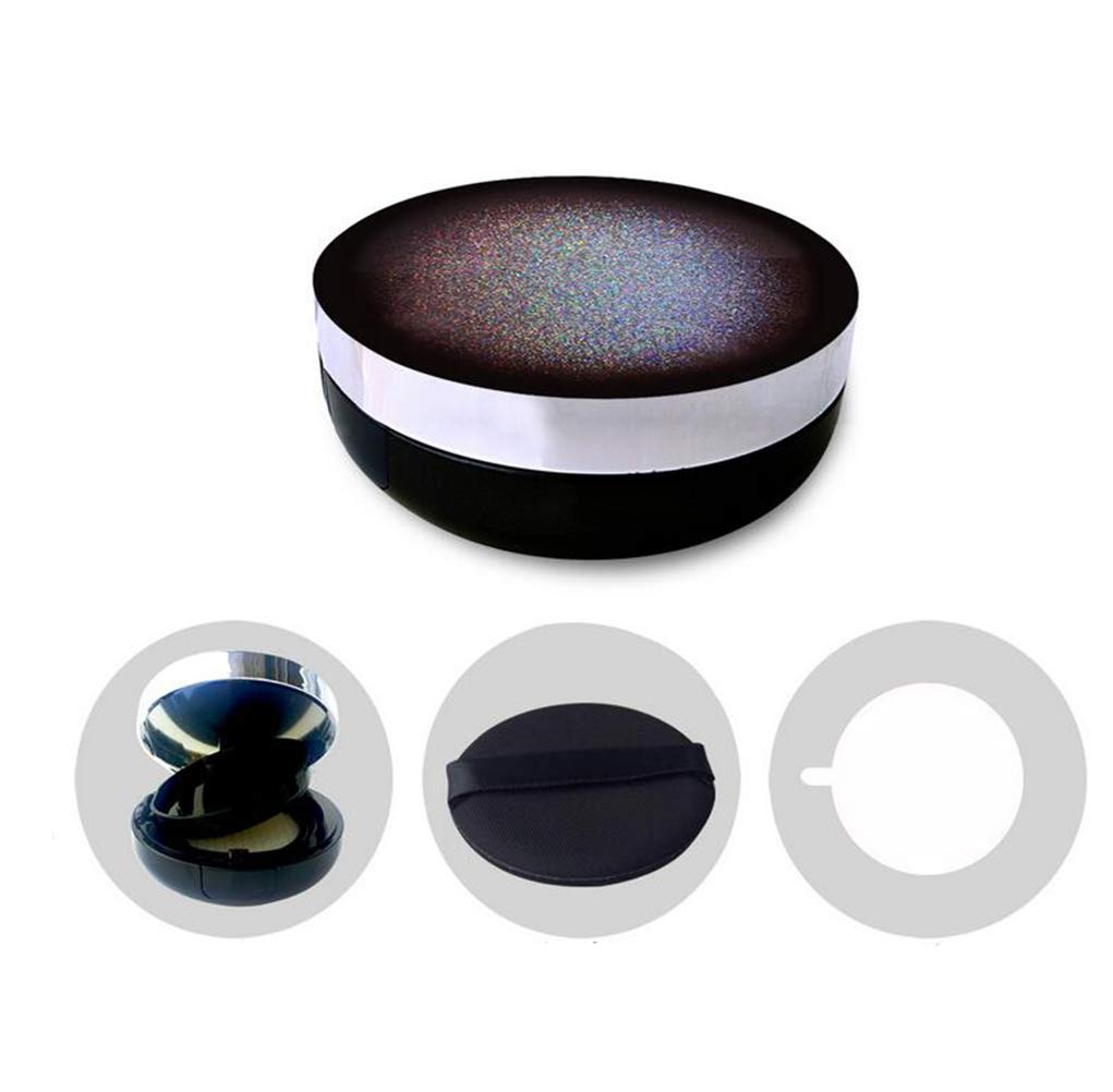 Black Empty Portable Air Cushion Puff Container Dressing Case Powder Puff Box With Sponge And Mirror