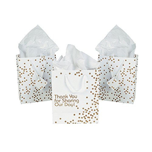 Fun Express Thank You For Sharing Our Day Wedding Thank You Gift Bags - 12 (Wedding Bags)