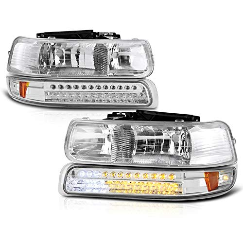 VIPMOTOZ Chrome OEM-Style Headlight + LED Strip Front Bumper Parking Turn Signal Lamp Housing Assembly Replacement For 1999-2002 Chevy Silverado 1500 2500 3500 & 2000-2006 Tahoe Suburban