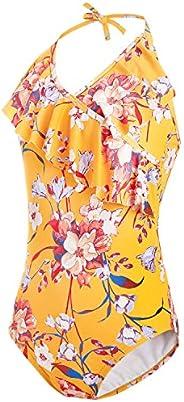 AS ROSE RICH Girls Swimsuits - Bathing Suits for Girls 7-16 UPF50+ One Piece Ruffle Swimwear