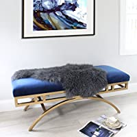 Dark Grey Tibetan Mongolian Sheepskin Fur Hide pelt throw rug Premium Quality