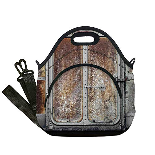 (Insulated Lunch Bag,Neoprene Lunch Tote Bags,Industrial Decor,Vintage Railway Container Door Metal Old Locomotive Transportation Iron Power Design,Grey Brown,for Adults and children)