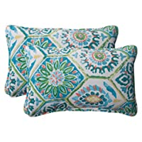 Pillow Perfect Indoor/Outdoor Summer Breeze Corded Rectangular Throw Pillow, Pool, Set of 2 by Pillow Perfect