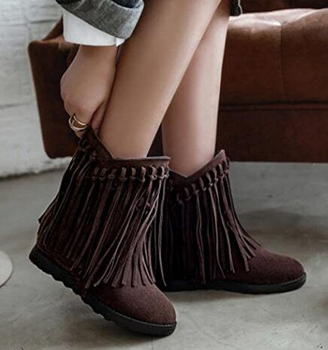 IDIFU Womens Retro Fringes Mid Wedge Heels Hidden Inside Frosted Pull On Ankle Boots Brown rPlGdWk