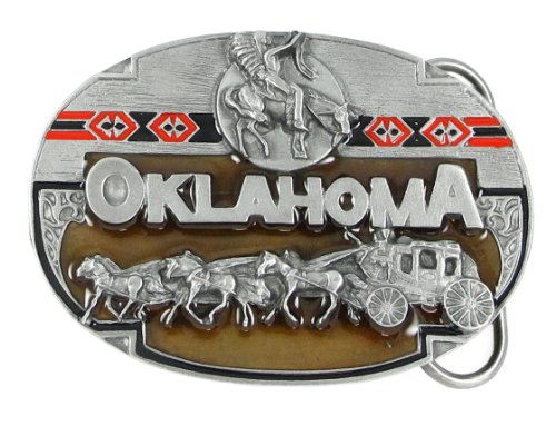 Hand Enameled Pewter Belt Buckle - Oklahoma Stagecoach