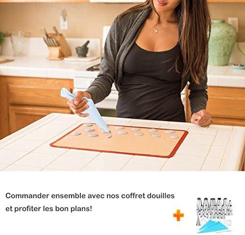 Twolights Tapis de Cuission en Silicone 2 Pièces sans BPA Anti-Adhérent Toile Feuille de Cuisson Patisserie (40 * 30cm)