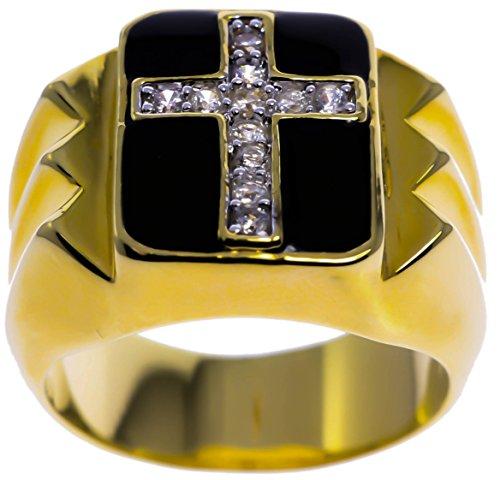 (Cross Men's Ring Russian Formula czs Black Enamel 18K Gold Overlay Size 12)