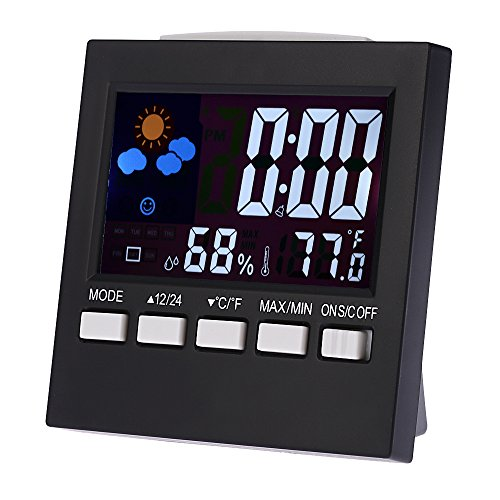 LAFEINA Weather Monitor Clock, Multi-use Digital Weather Thermometer, Temperature and Humidity Monitor with Alarm Clock, Time Date and Colorful LCD Screen Displaying
