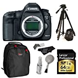 "Canon EOS 5D Mark III 22.3 MP Full Frame CMOS with 1080p Full-HD Video Mode Digital SLR Camera (Body) + Lexar 64GB SDXC 600x Card + 72"" Polaroid Tripod + Backpack + Polaroid Cleaning Kit"