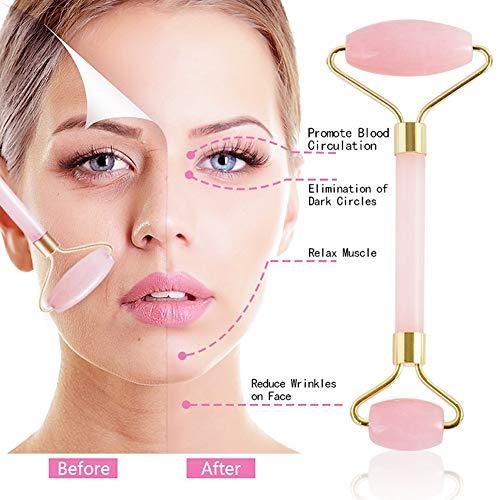 Jade Roller, Jade Roller For Face, Jade Facial Roller, Anti Aging Jade roller Therapy 100% Natural jade facial roller double Neck Healing Slimming Massager (Pink)