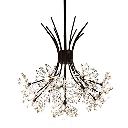 Garwarm Modern Firework Chandeliers,Crystal Dandelion Chandelier Pendant Lighting,Ceiling Lights Fixtures for Living Room Bedroom Restaurant,13-Light,Black
