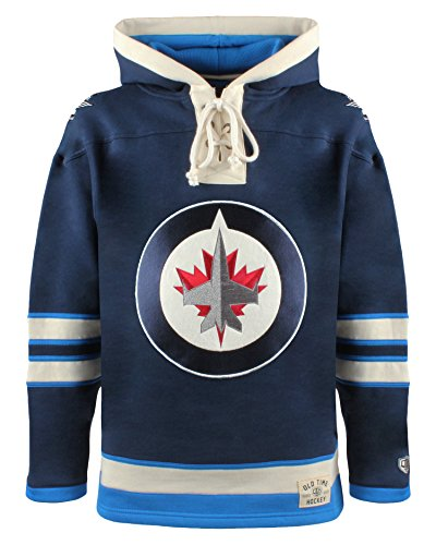 Old Time Hockey NHL Winnipeg Jets Men's Lacer Heavyweight Hoodie, Medium, Navy (Winnipeg Jets Hockey)