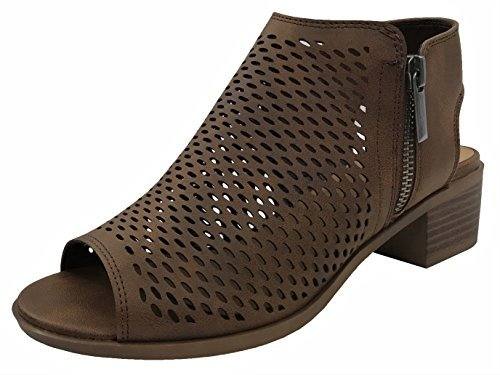 Open Toe Ankle Strap Bootie Sandal Low Heel Perforated Cutout, Lt Brown, 9