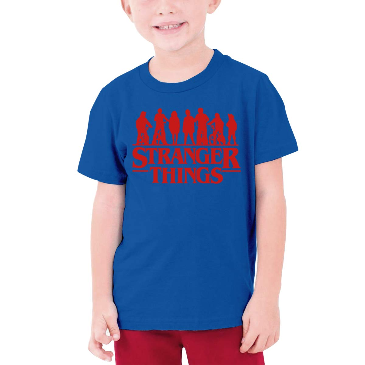 Runxin Custom Stranger Things Shadow Funny T Shirts O-Neck for Youngster Black