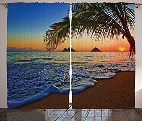 Hawaiian Decorations by Ambesonne, Pacific Sunrise at Lanikai Beach Hawaii Colorful Sky Wavy Ocean Surface Scene, Living Room Bedroom Curtain 2 Panels Set, 108 X 84 Inches, Blue (Blue Theme Room)