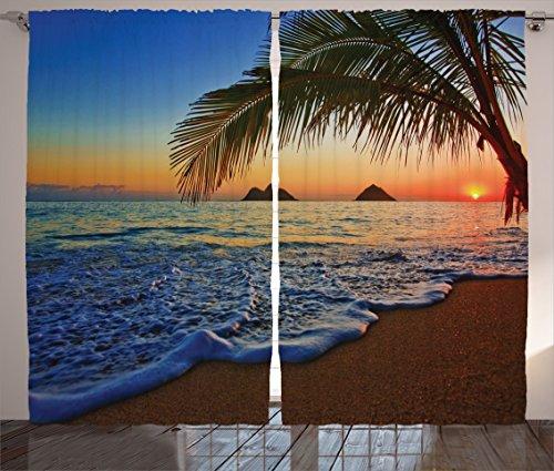 (Ambesonne Hawaiian Curtains, Pacific Sunrise at Lanikai Beach Hawaii Colorful Sky Wavy Ocean Surface Scene, Living Room Bedroom Window Drapes 2 Panel Set, 108