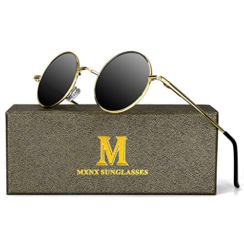 Retro Round Sunglasses for men John Lennon women Vintage Polarized Hipple Small Circle Sun Glasses MXNX209 -(Gold/Black Lens)