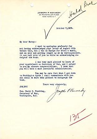 Amazon com: Joseph P  Kennedy Sr  - Typed Letter Signed 10/07/1936